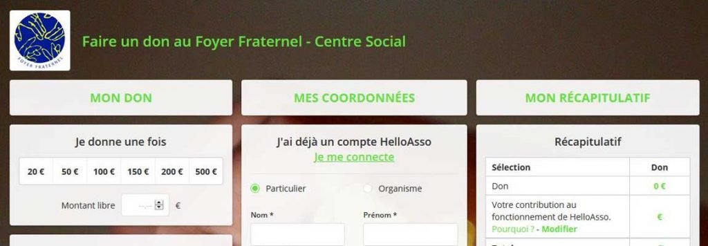 Capture d'écran du haut de la page donateurs du site HelloAsso