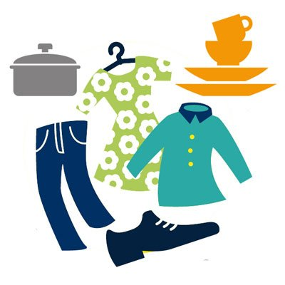 Une illustration d'objets d'occasion (vêtements, chaussures, vaisselle, casserole)
