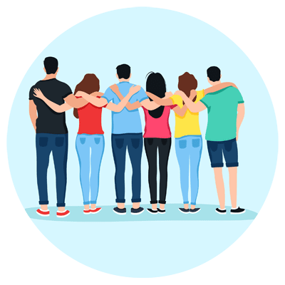Illustration d'un groupe de jeunes de dos qui se tiennent enlacés par les épaules
