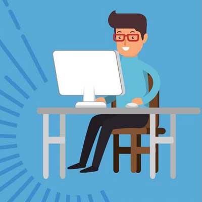 Une illustration représentant un homme derrière son ordinateur