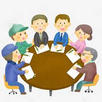 Une illustration d'un conseil d'administration de 6 personnes autour d'une table