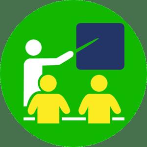 Pictogramme illustrant un enseignant devant deux élèves face au tableau noir