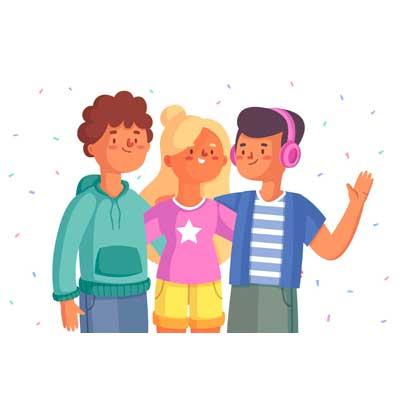 Illustration de trois ados joyeux dont un porte un casque sur les oreilles