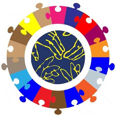 Une rangée de puzzles entoure le logo du Foyer Fraternel pour illustrer l'unité autour d'objectifs communs