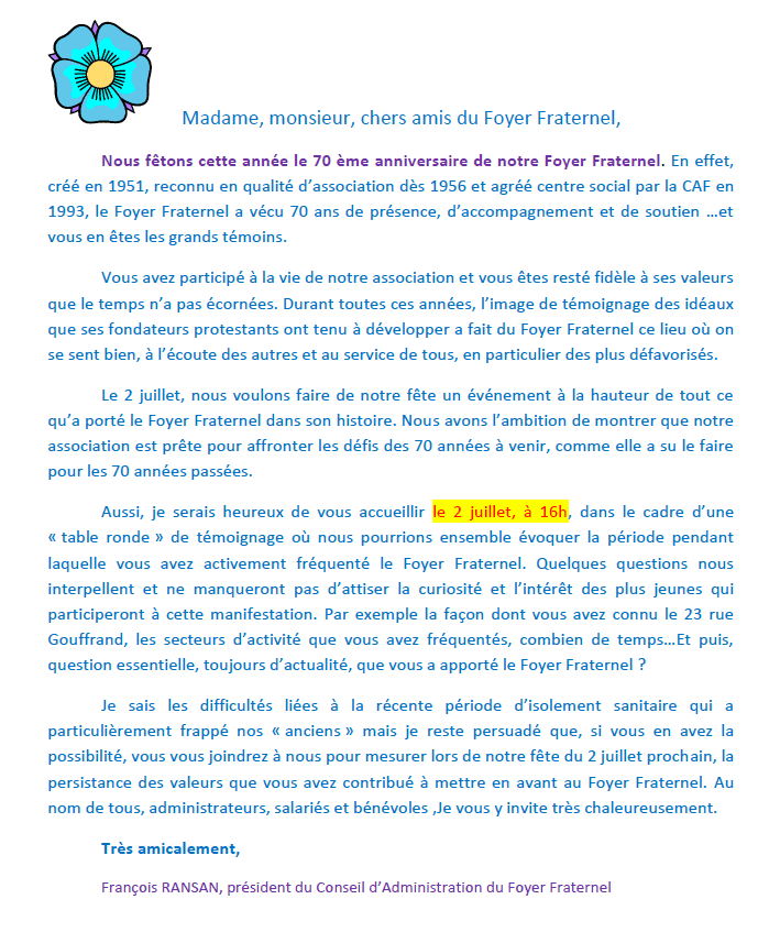 Invitation de François RANSAN, président du Conseil d'Administration du Foyer Fraternel